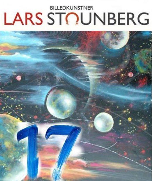 Maleri kosmos planeter - julekalender kunst malerier og croquis-tegninger af Lars Stounberg
