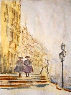 Kunstplakat - Les deux hommes, Venise - Billedkunstner Odder Lars Stounberg