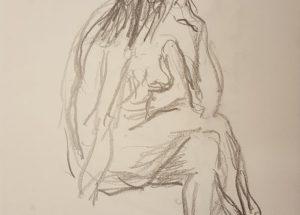 Croquis - Siddende kvinde hovedet under armen - 2018 - Billedkunstner Lars Stounberg
