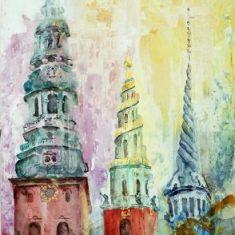 Titel: 3 tårne københavn akvarel 51 x 68 cm 1998 - Billedkunstner Odder Lars Stounberg