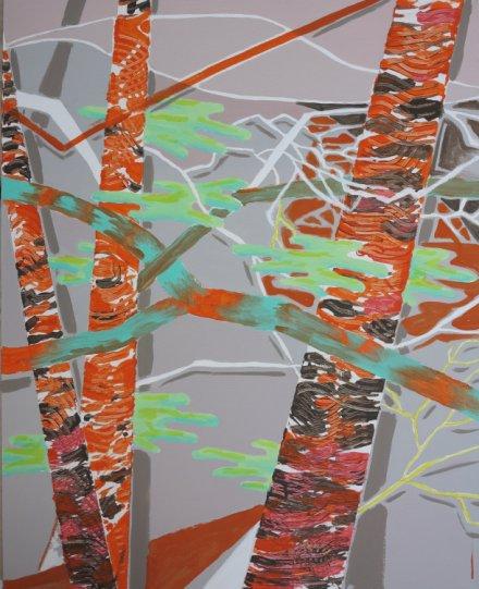 3 træstammer maleri Billedkunstner Odder Lars Stounberg 2013