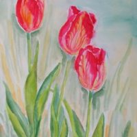 Farverig moderne akvarel - Tre tulipaner 2007 - Billedkunstner Odder Lars Stounberg