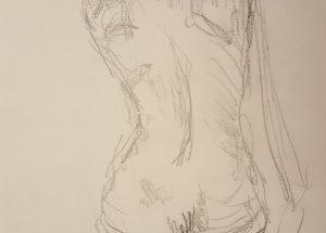 Croquis - Kvinde på hug - 2018 - Billedkunstner Lars Stounberg
