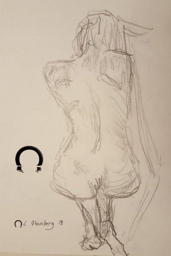 Croquis-tegning - Kvinde på hug - 2018 - Billedkunstner Lars Stounberg