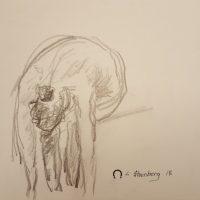 Croquis - Kvinde bøjet forover - Billedkunstner Lars Stounberg