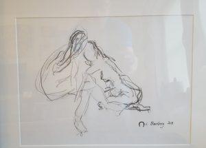 Croquis - 2 kvinder siddende - billedkunstner Lars Stounberg