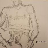 Croquis - Siddende nøgen mand - Billedkunstner Lars Stounberg 2018