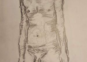 Croquis - Mand stående fra siden - Billedkunstner Lars Stounberg 2018