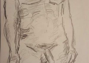 Croquis - kraftig mand stående - billedkunstner Lars Stounberg 2018