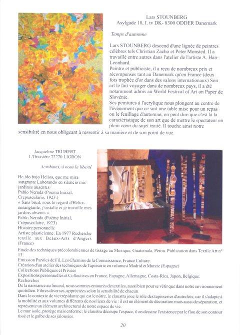 Billedkunstner Lars Stounberg i kataloget på udstillingen Artec 2005