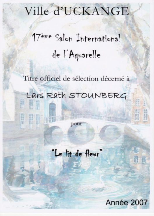 Diplom fra udstillingen Ville d'Uckange - 17eme Salon International de l'Aquarelle, Frankrig.