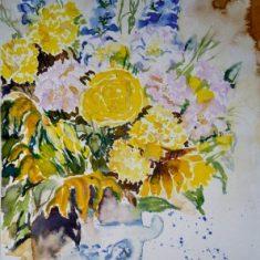 Titel: Blomsterkrukke akvarel 42 x 33 cm 2001 - Billedkunstner Odder Lars Stounberg