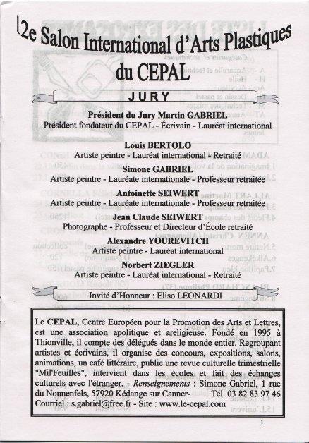 Katalog 2008 fra den censurede udstilling  12e Salon International d'Arts Plastiques du Cepal, Frankrig