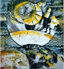 Titel: Cosmos gouache 60 x 50 cm 1999 - Billedkunstner Odder Lars Stounberg