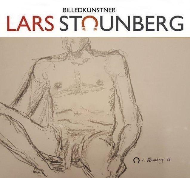 Croquis-tegning mand siddende paa sofa - billedkunstner Lars Stounberg 2018
