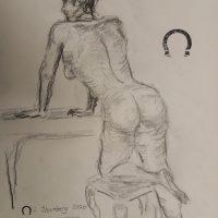 Croquis-tegning kvinde set bagfra tegnet 2020 af Lars Stounberg