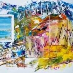 Titel: Gouache solgt til Dansk Dataservice Middelfart 50 x 71 cm - Billedkunstner Odder Lars Stounberg
