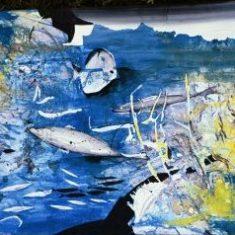 Titel: Fish gouache 50 x 74 cm 2000 - Billedkunstner Odder Lars Stounberg