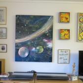 Moderne farverig maleri kosmos og planeter på væg - Billedkunstner Odder Lars Stounberg