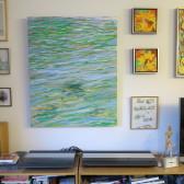 Moderne farverig maleri vandspejlinger hav - reflekser i vandet - på væg - Billedkunstner Odder Lars Stounberg