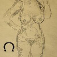 Croquis tegning nøgen kvinde ved stranden tegnet af Lars Stounberg 2020