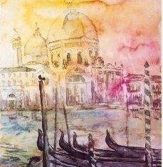 Titel: Maria kirke Venedig akvarel 42 x 33 cm 2000 - Billedkunstner Odder Lars Stounberg