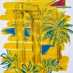 Titel: Olympeion akvarel 32 x 38 cm 2001 - Billedkunstner Odder Lars Stounberg