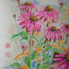 Titel: Rød solhat akvarel 52 x 40 cm 2005 - Billedkunstner Odder Lars Stounberg
