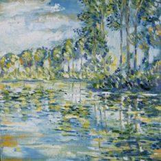 Titel: Spejling træer olie 50x60 cm 2003 - Billedkunstner Odder Lars Stounberg