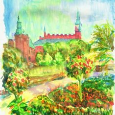 Titel: Tivoli københavn akvarel 52 x 40 cm 1999 - Billedkunstner Odder Lars Stounberg