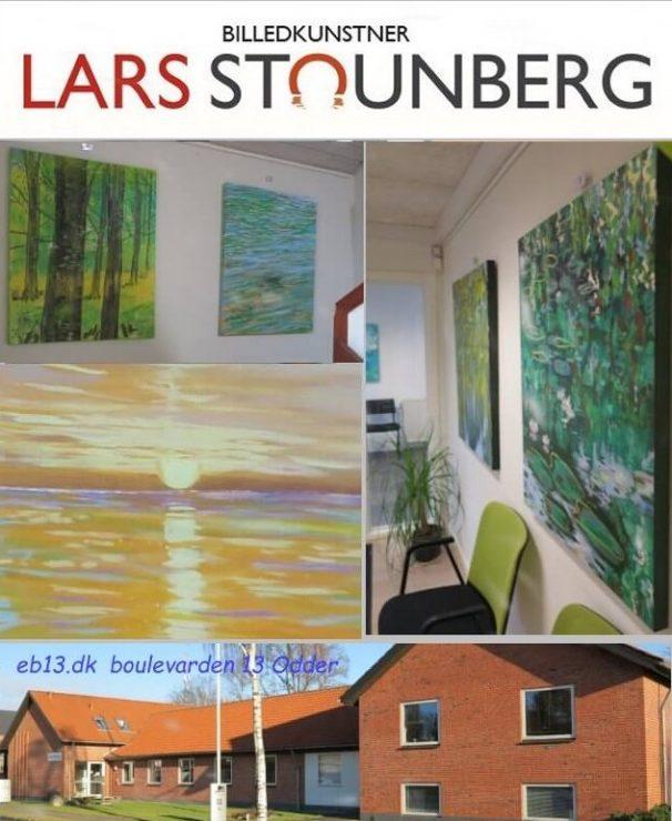 Kig på udstilling malerier af Lars Stounberg Boulevarden 13 erhvervshuset Odder