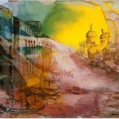 Titel: Venedig Canal Grande akvarel 42 x 60 cm 1996 - Billedkunstner Odder Lars Stounberg