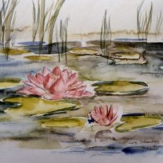 Titel: Aakande natur akvarel 32 x 42 cm 2002 - kunstner Odder Lars Stounberg