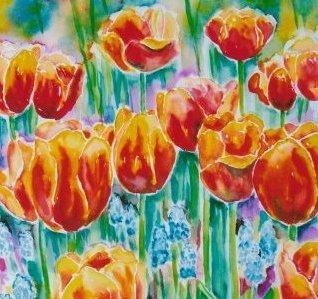 Udstilling i kunstforeninger - Farverig moderne akvarel tulipaner orange-gule 2007 - Kunstner Odder Lars Stounberg