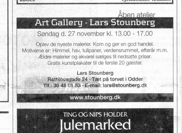 Åben atelier hos Lars Stounberg - annonce - Odder Avis onsdag d. 23. november 2011