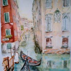 Titel: Anzolo Venedig akvarel 53 x 41 cm 2002 - Billedkunstner Odder Lars Stounberg