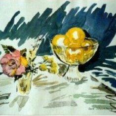 Titel: Appelsin akvarel 42 x 33 cm 1999 - Billedkunstner Odder Lars Stounberg