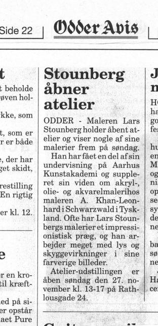 Omtale af Åben atelier hos Lars Stounberg  i  Odder Avis 23. november 2011