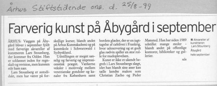 Omtale - Farverig kunst på Åbygård i september Aarhus 1999