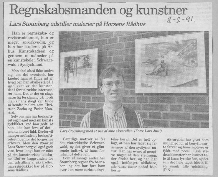 Billedkunstner Lars Stounberg -Akvareludstilling Horsens Rådhus -  Horsens Folkeblad 3. februar 1991