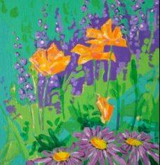 Titel: Asters acryl 61 x 36 cm 2005 - Billedkunstner Odder Lars Stounberg