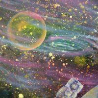 Farverigt moderne maleri - Astronaut - Månen - Planeter 2010 - Billedkunstner Odder Lars Stounberg