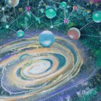Farverigt moderne maleri - atomer - planeter - galakser 2010 - Billedkunstner Odder Lars Stounberg