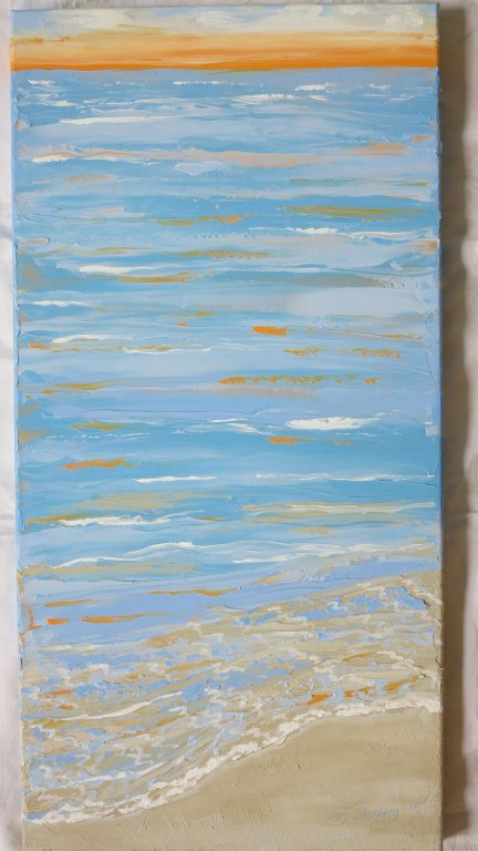 Maleri fra Saxild Strand af billedkunstner Lars Stounberg