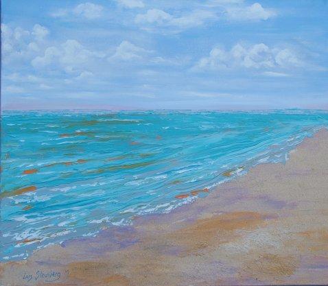 Havmaleri - Strandparti rude strand - Billedkunstner Odder Lars Stounberg 2010