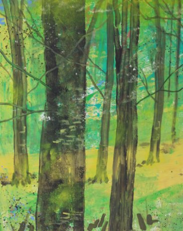 Farverig maleri Bøgeskov i maj - natur Billedkunstner Odder Lars Stounberg 2012