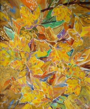 25eme Salon International Artistique de Haute-Loire 2004, Frankrig  - maleri efterårsblade