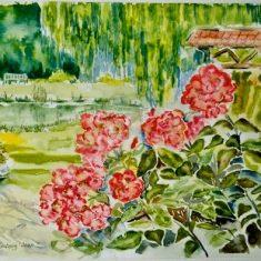 Titel: Boller park akvarel 40 x 52 cm 2001 - Billedkunstner Odder Lars Stounberg