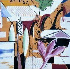 Titel: Bridge gouache 50x60 cm 2000 - Billedkunstner Odder Lars Stounberg