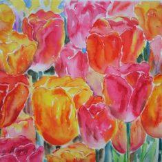 Farverig moderne akvarel Blandede tulipaner natur 40 x 52 cm 2005 - Billedkunstner Odder Lars Stounberg